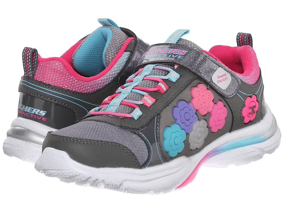 SKECHERS KIDS - Game Kicks 10900L (Little Kid/Big Kid) (Gun Metal/Multi) Girls Shoes