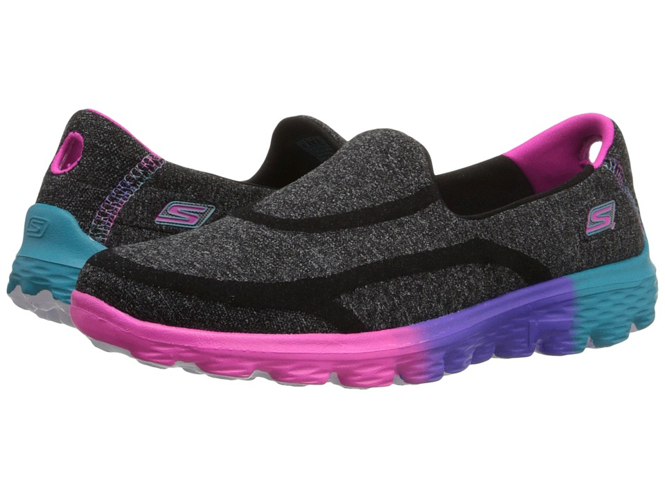 SKECHERS KIDS - GO Walk 2 81075L (Little Kid/Big Kid) (Black/Multi) Girl's Shoes