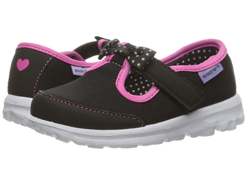 SKECHERS KIDS - Go Walk - Bitty Bow (Toddler/Little Kid) (Black/Hot Pink) Girl's Shoes