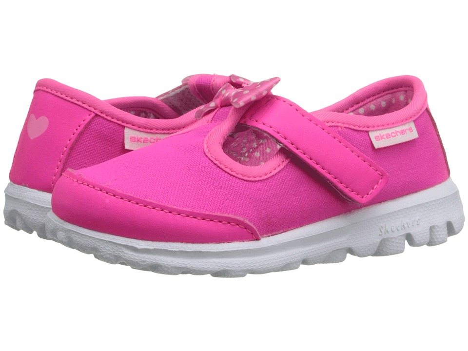 SKECHERS KIDS - Go Walk - Bitty Bow (Toddler/Little Kid) (Neon Pink) Girl's Shoes