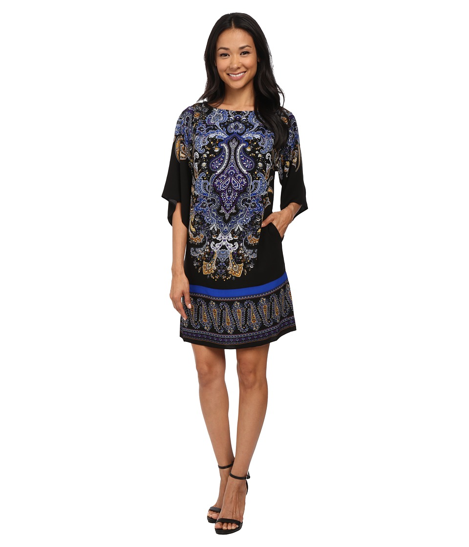 Adrianna Papell - Giant Paisley Placed Printed Dress (Black/Blue) Women