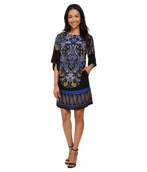Adrianna Papell - Giant Paisley Placed Printed Dress (Black/Blue) Women's Dress