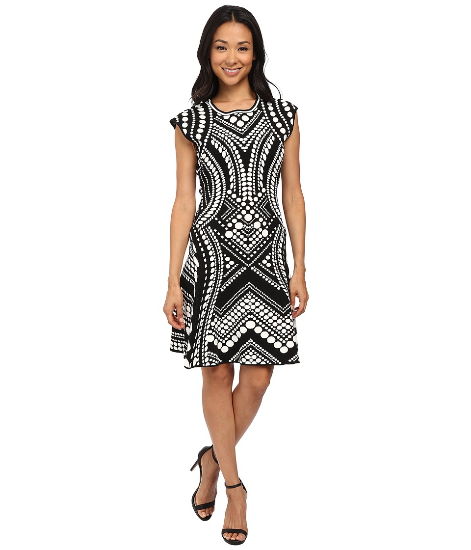 Adrianna Papell - Scoop Neck Cap Sleeve Flare Dress (Black/Ivory) Women's Dress