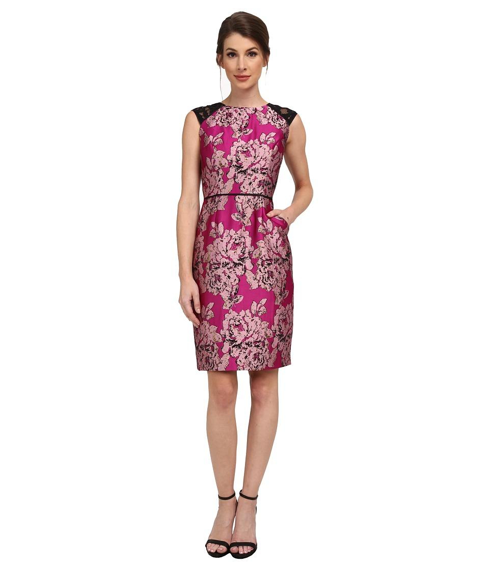 Adrianna Papell - Lace Sleeve Metallic Jacquard Dress (Black/Fuchsia) Women's Dress