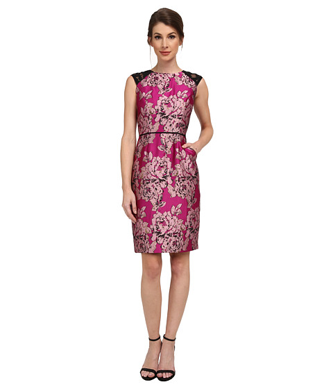 Adrianna Papell - Lace Sleeve Metallic Jacquard Dress (Black/Fuchsia) Women