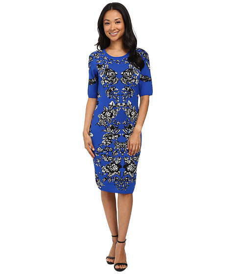 Adrianna Papell - Scoop Neck Jacquard Print Dress (Cobalt Multi) Women's Dress