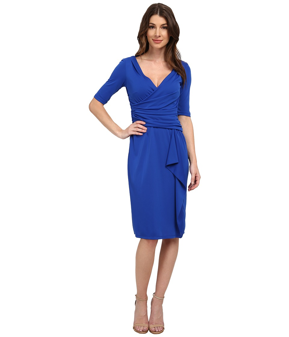 Adrianna Papell - Short Sleeve Drape Front Dress with Side Zip (Cobalt) Women's Dress
