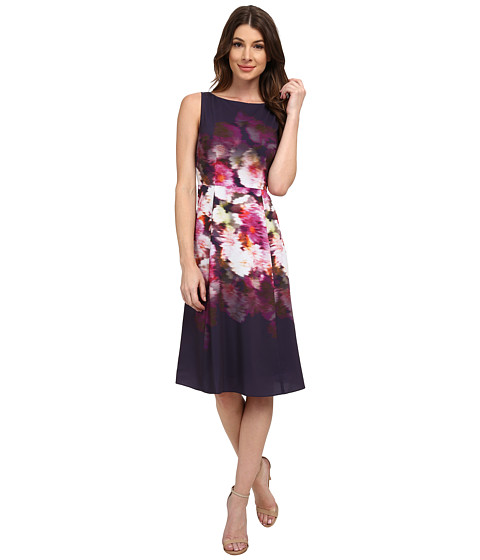 Adrianna Papell - Midi Length Printed Fit Flare Dress (Purple Multi) Women