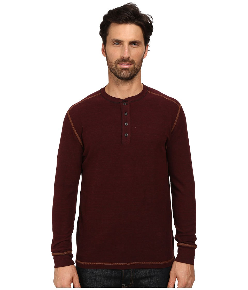 Agave Denim - Long Sleeve Henley Canvas (Cabernet) Men's Long Sleeve Pullover