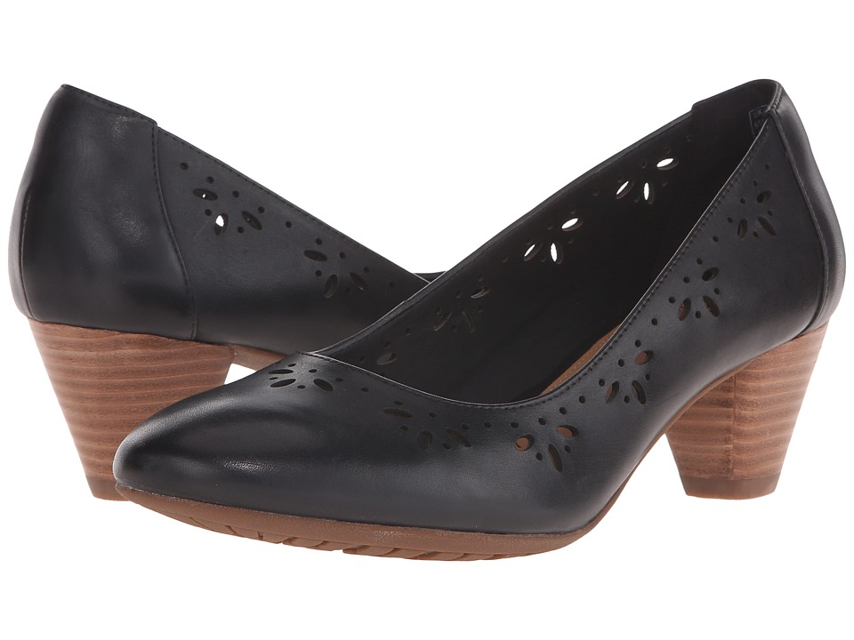 Clarks - Denny Dazzle (Black Leather) Women's 1-2 inch heel Shoes
