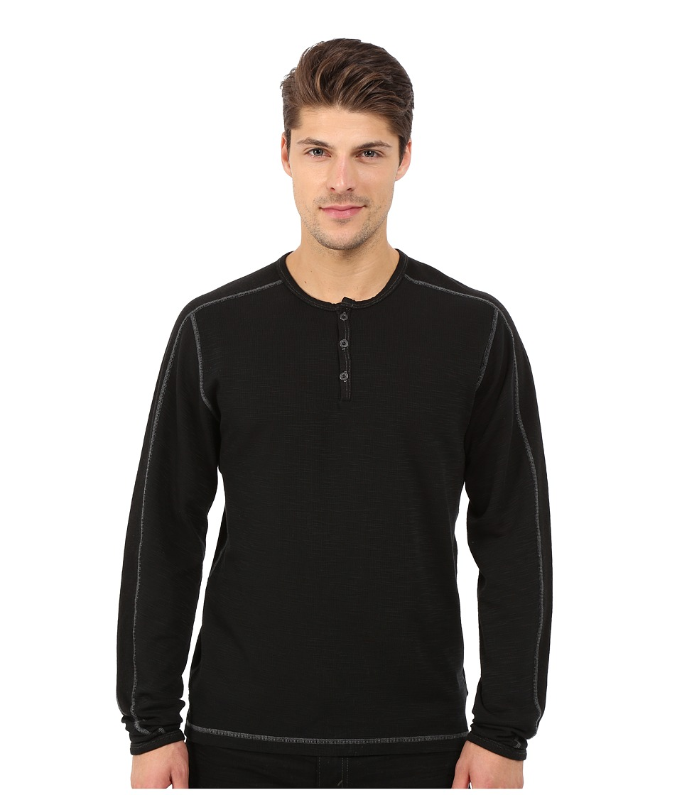 Agave Denim Long Sleeve Henley Miliary Sleeve (Caviar) Men's Long Sleeve Pullover