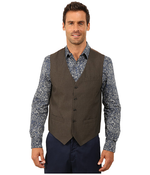 Perry Ellis - Corded Twill Stripe Suit Vest (Rain Drum) Men