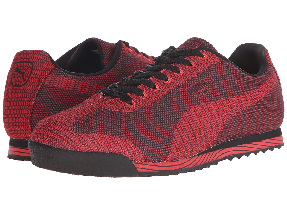 PUMA - Roma Woven Print (Black/High Risk Red) Men's Shoes