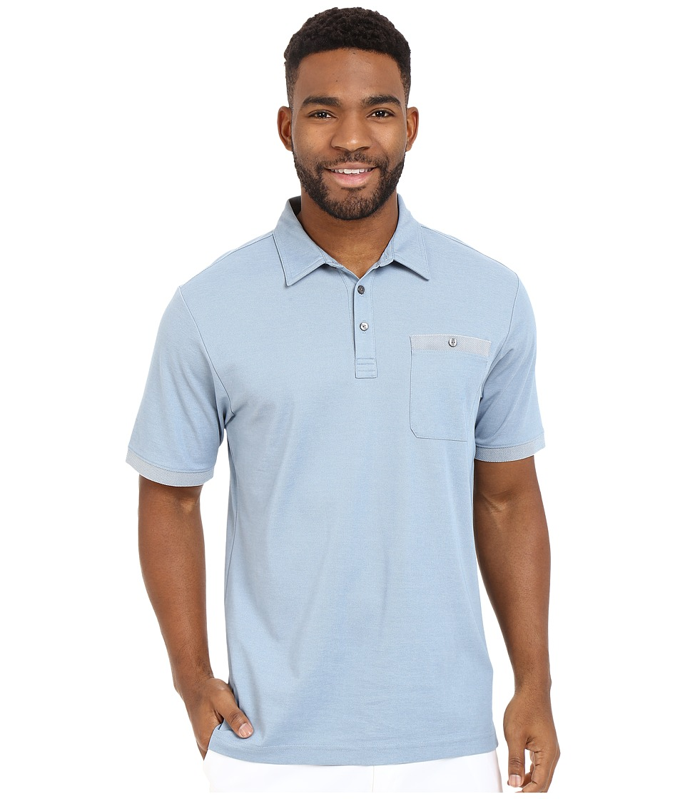 TravisMathew - Alvin Polo (Heather Provincial Blue) Men's Short Sleeve Pullover