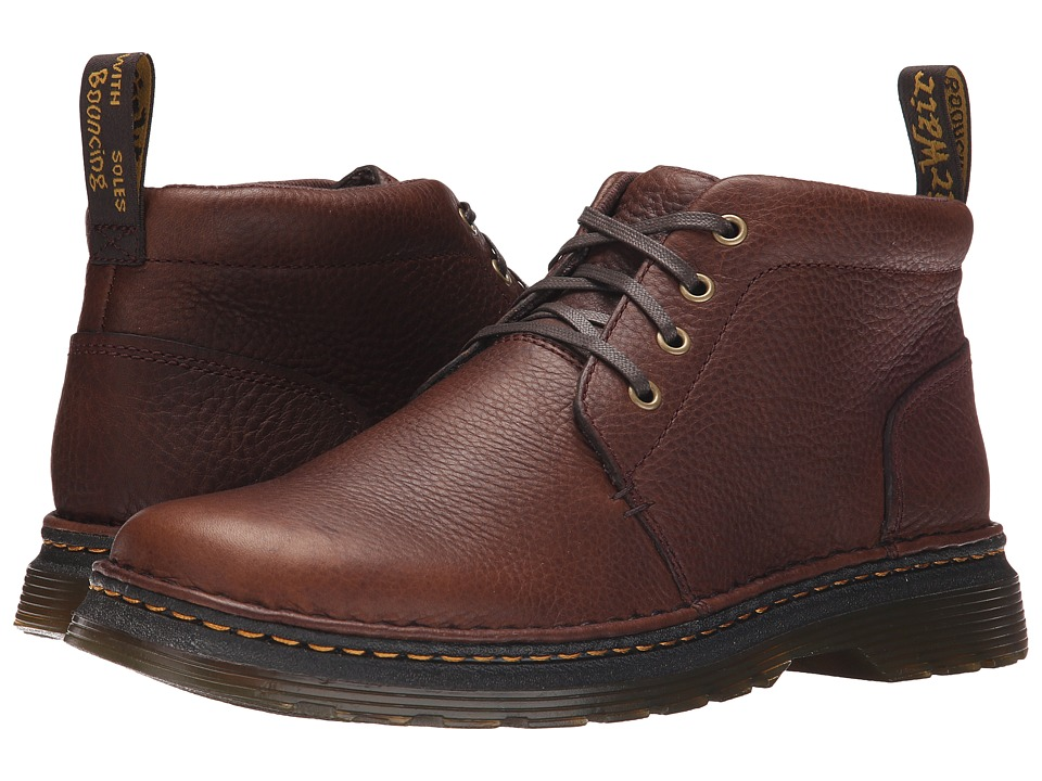 Dr. Martens - Lea 4-Eye Chukka Boot (Dark Brown Grizzly/Hi Suede WP) Men's Lace-up Boots