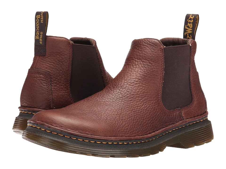 Dr. Martens - Oakford Chelsea Boot (Dark Brown Grizzly/Hi Suede WP) Men's Pull-on Boots