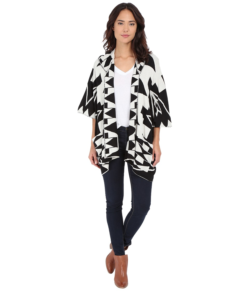 Billabong - Enchanted Ways Poncho (Black/White) Women's Clothing