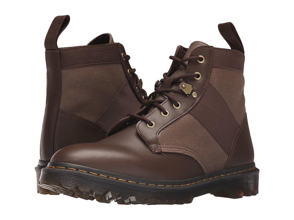 Dr. Martens - Beam 6-Tie Boot (Dark Brown/Tan Waxy Canvas/Finoil) Men's Lace-up Boots