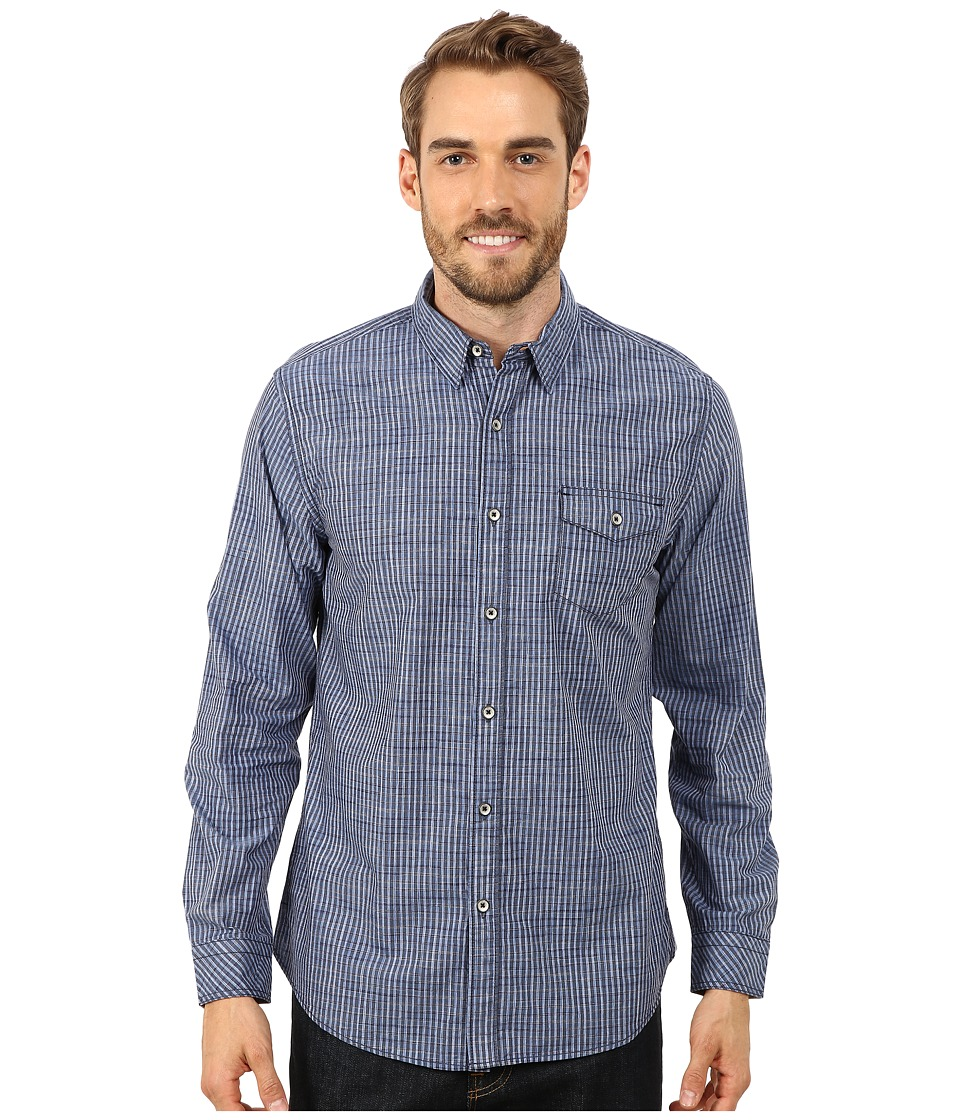 DKNY Jeans - Long Sleeve Space Dye Plaid Shirt (Blue) Men's Clothing