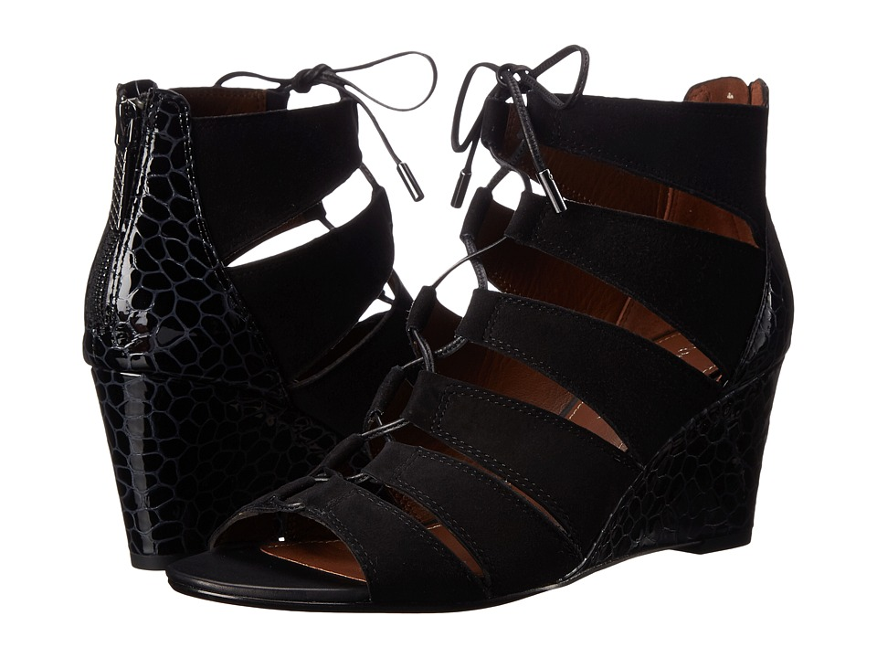 Donald J Pliner - Jeisa (Black Suede/Patent) Women's Wedge Shoes
