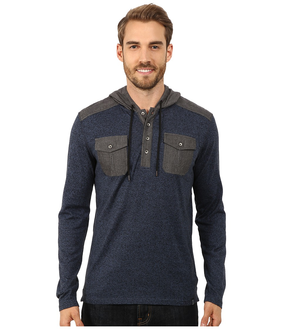 DKNY Jeans - Long Sleeve Loose Knit Jasper Jersey/Chambray Mix Hooded Henley (River Blue) Men's Clothing