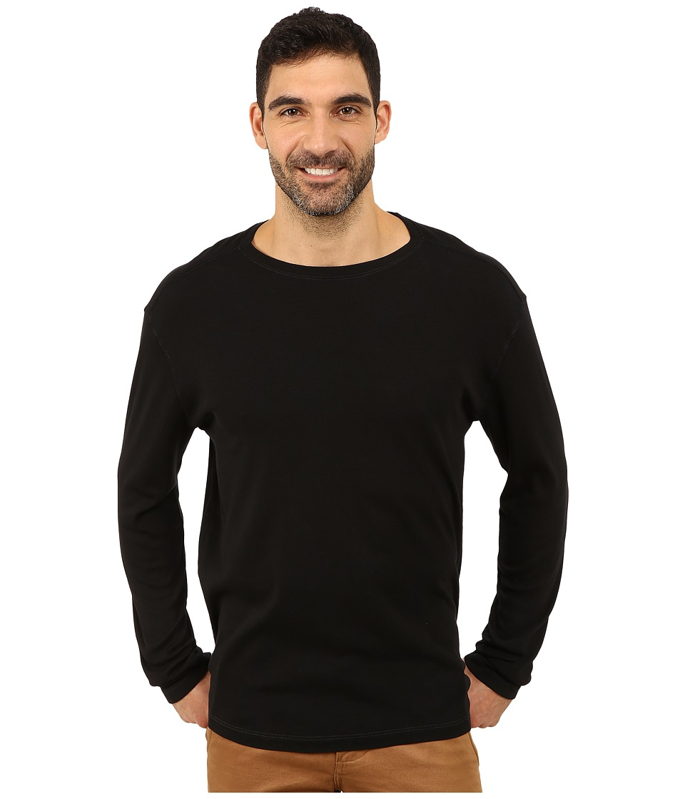 Agave Denim - Long Sleeve Vee Baby Rib (Caviar) Men's Long Sleeve Pullover