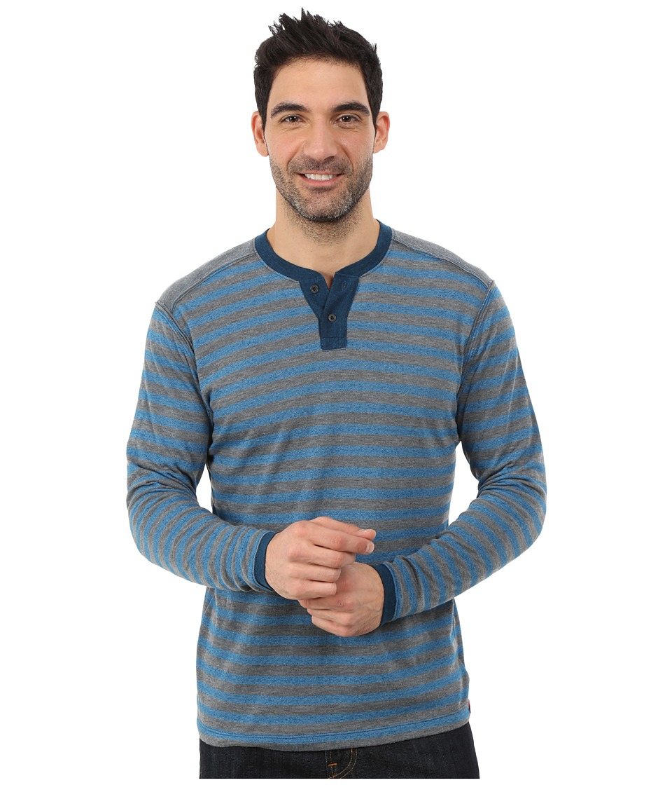 Agave Denim - Long Sleeve Henley Stripe (Seaport) Men's Long Sleeve Pullover
