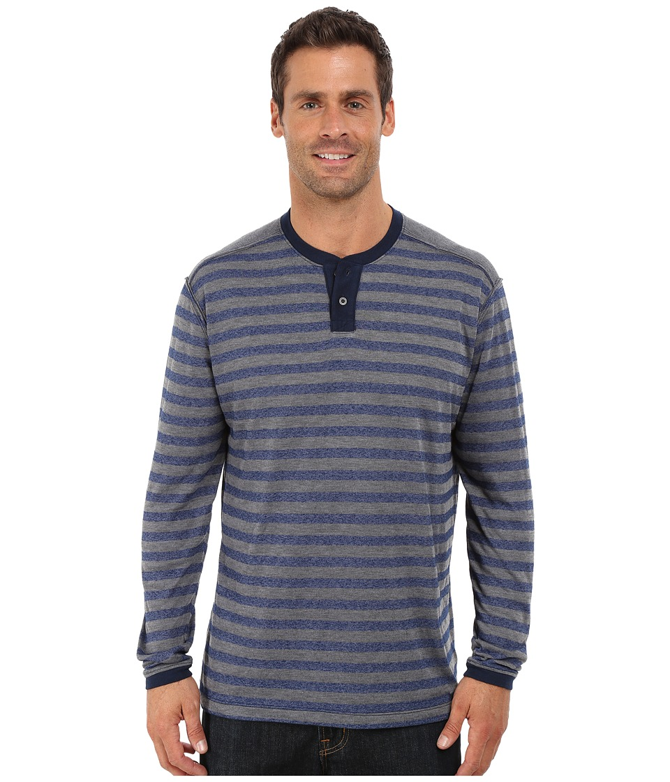 Agave Denim - Long Sleeve Henley Stripe (Medieval Blue) Men's Long Sleeve Pullover