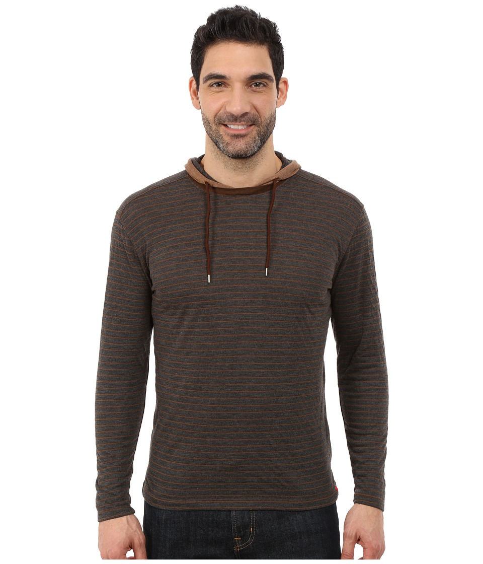 Agave Denim - Long Sleeve Hoodie/Crew Stripe (Bronze Brown) Men's Long Sleeve Pullover