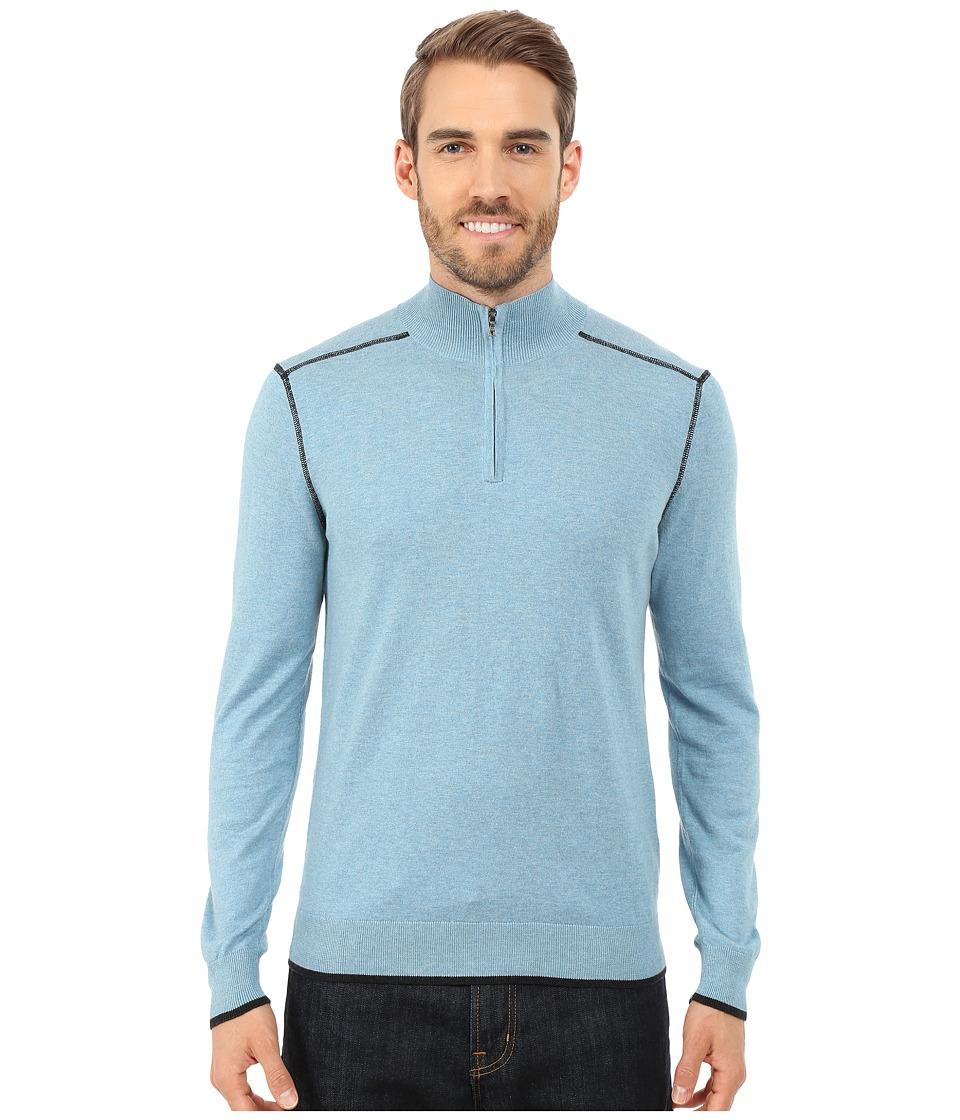 Agave Denim - Long Sleeve Mock Neck 1/4 Zip (Adriatic Blue) Men