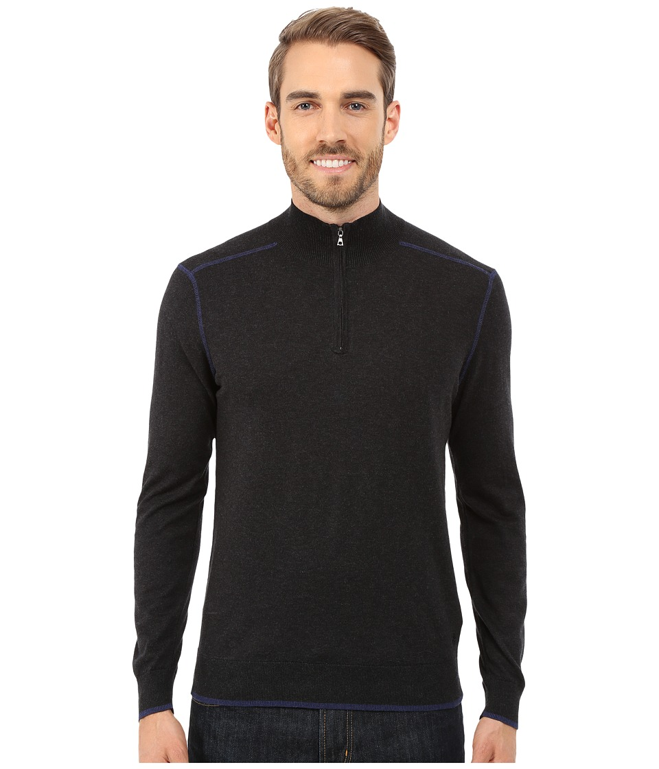 Agave Denim - Long Sleeve Mock Neck 1/4 Zip (Caviar) Men
