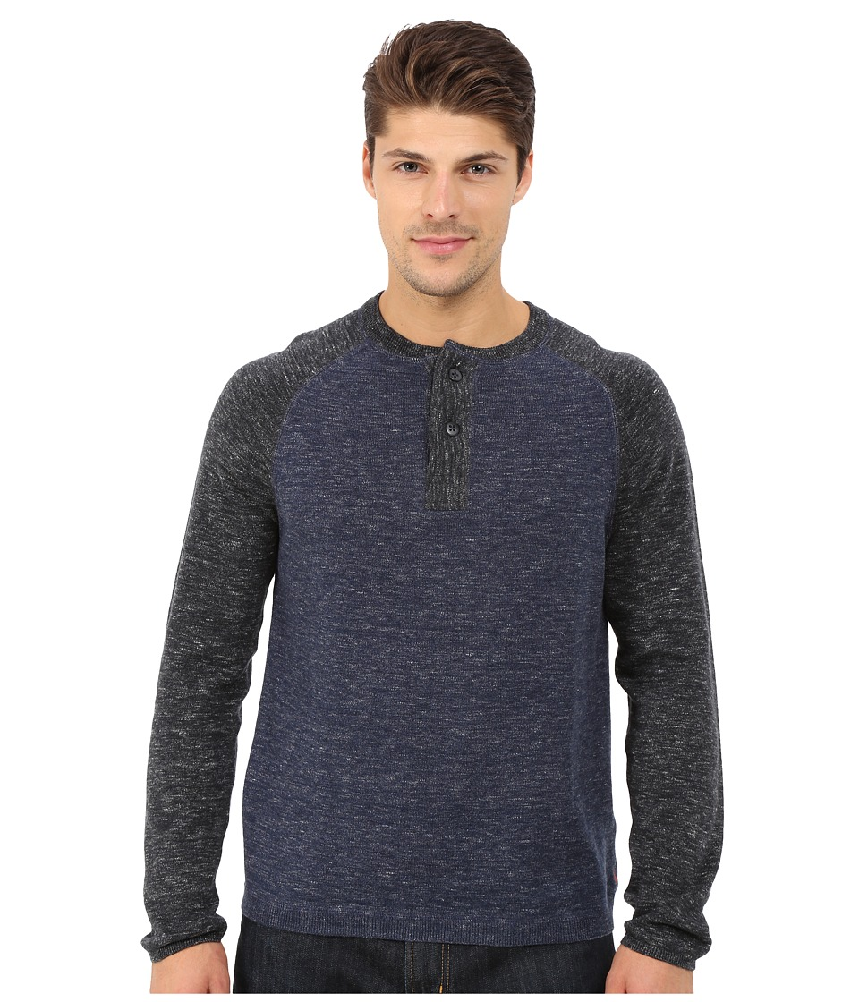 Agave Denim Long Sleeve Henley Fine Gauge Color Block (Indigo) Men