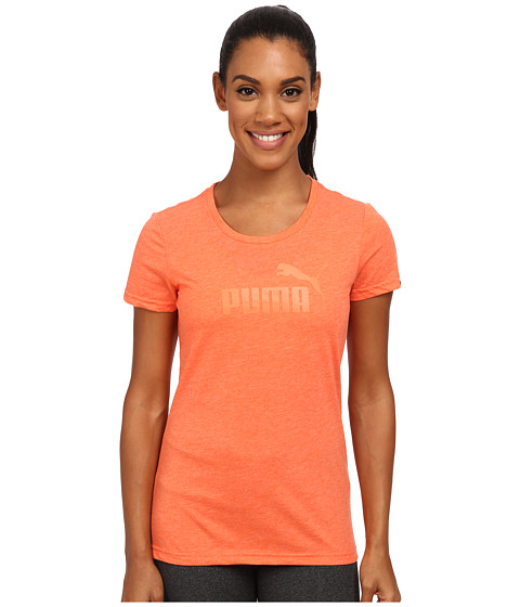 PUMA - ESS Large Logo Tee (Nasturium Heather) Women's T Shirt