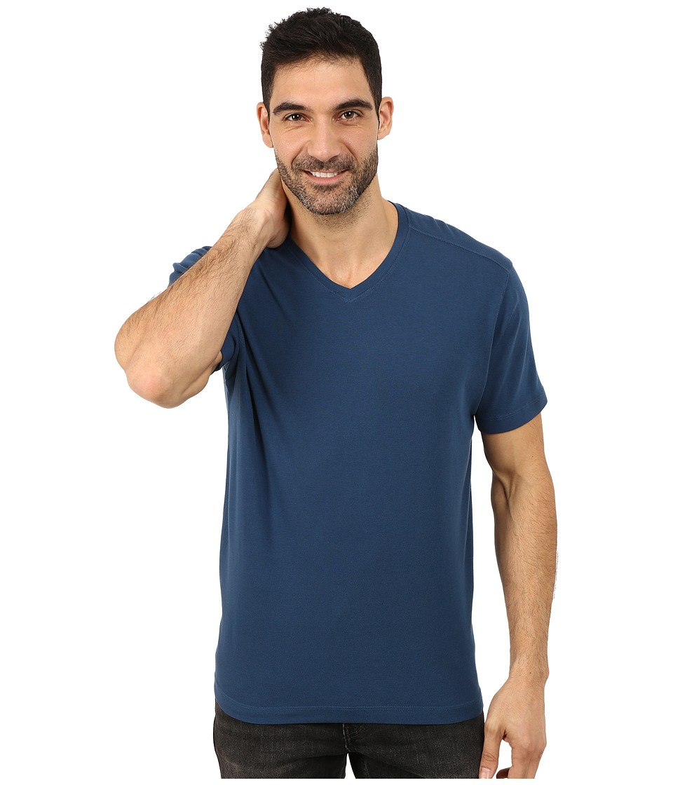 Agave Denim - Short Sleeve Supima Baby Rib (Majolica Blue) Men's Short Sleeve Pullover