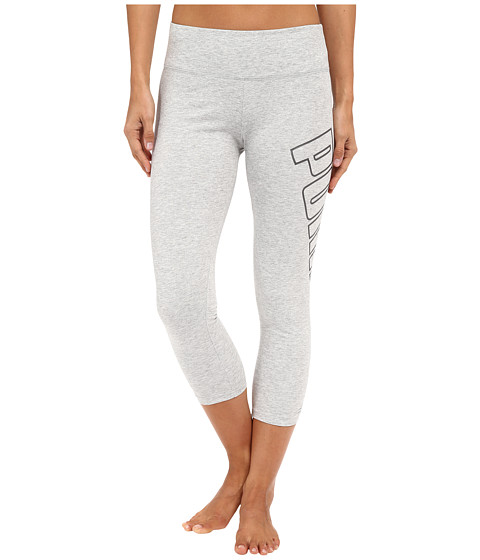 PUMA - 3/4 Puma Logo Leggings (Light Grey Heather) Women's Workout
