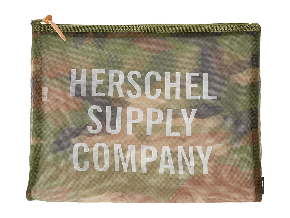 Herschel Supply Co. - Network XL - Mesh (Woodland Camo/White Screenprint) Travel Pouch