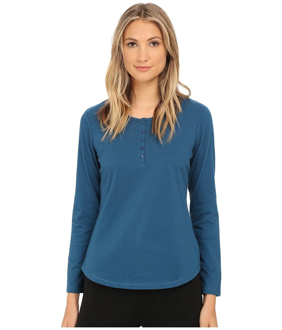 Jockey - Long Sleeve Henley Top (Olympia Blue) Women