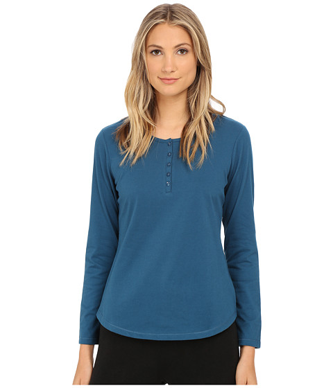 Jockey - Long Sleeve Henley Top (Olympia Blue) Women