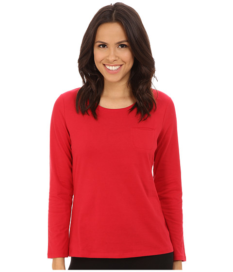 Jockey - Long Sleeve Top with Pocket (Red Berry) Women's Pajama