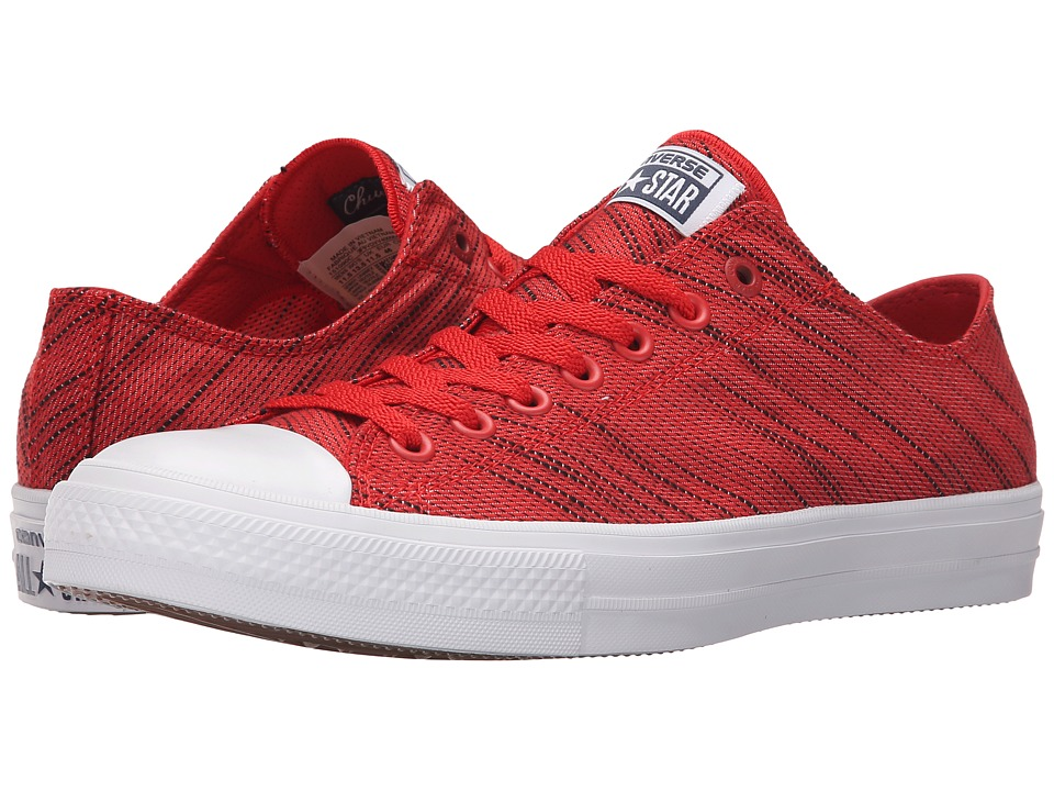 Converse - Chuck Taylor All Star II Knit Ox (Red/Black/White Textile) Athletic Shoes