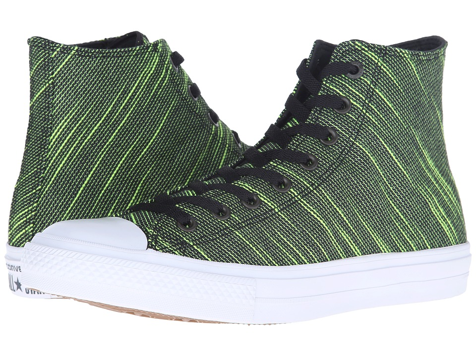 Converse Chuck Taylor All Star II Knit Hi (Black/Volt Green/White Textile) Athletic Shoes
