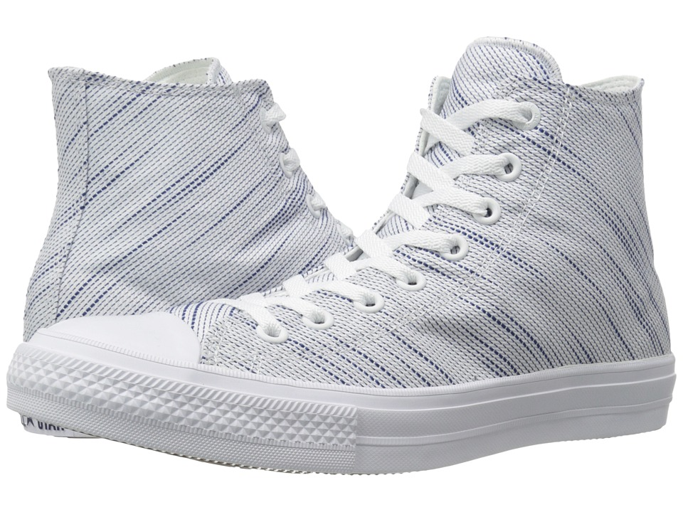 Converse Chuck Taylor All Star II Knit Hi (White/Roadtrip Blue/Navy Textile) Athletic Shoes