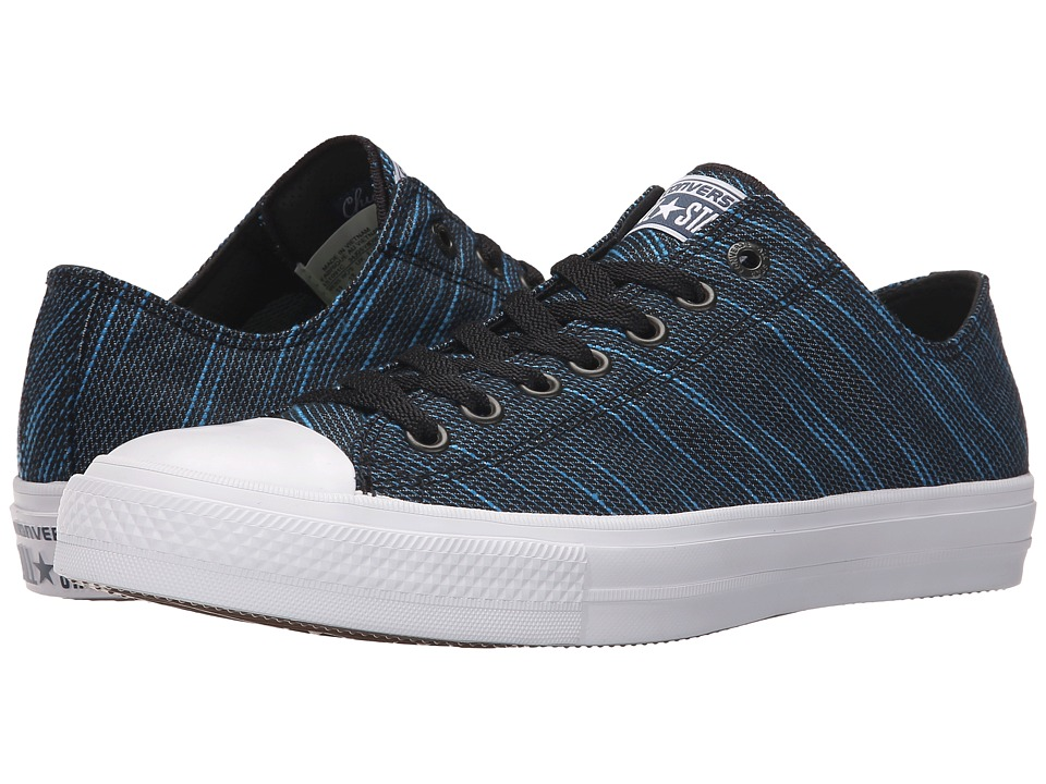 Converse - Chuck Taylor All Star II Knit Ox (Black/Spray Paint Blue/White Textile) Athletic Shoes