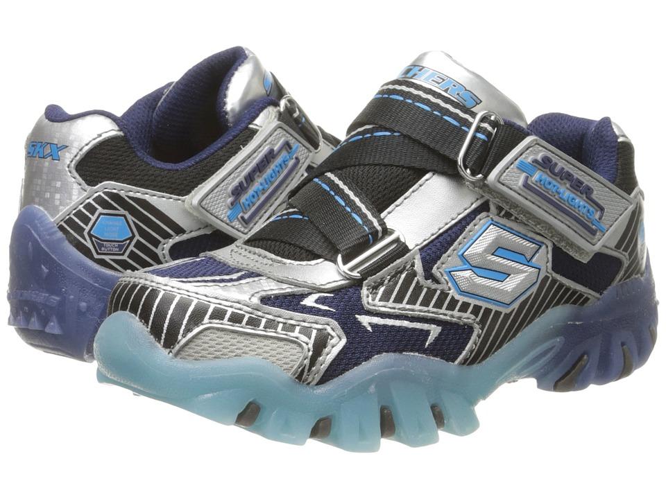 SKECHERS KIDS - Street Lightz 90479L Lights (Little Kid) (Silver/Navy/Black) Boys Shoes