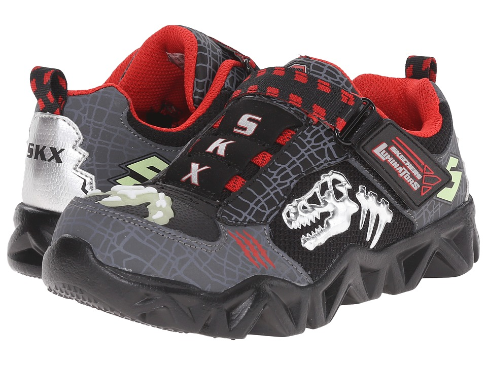 SKECHERS KIDS - Datarox - Extinct 90461L Lights (Little Kid) (Charcoal/Black/Red) Boys Shoes