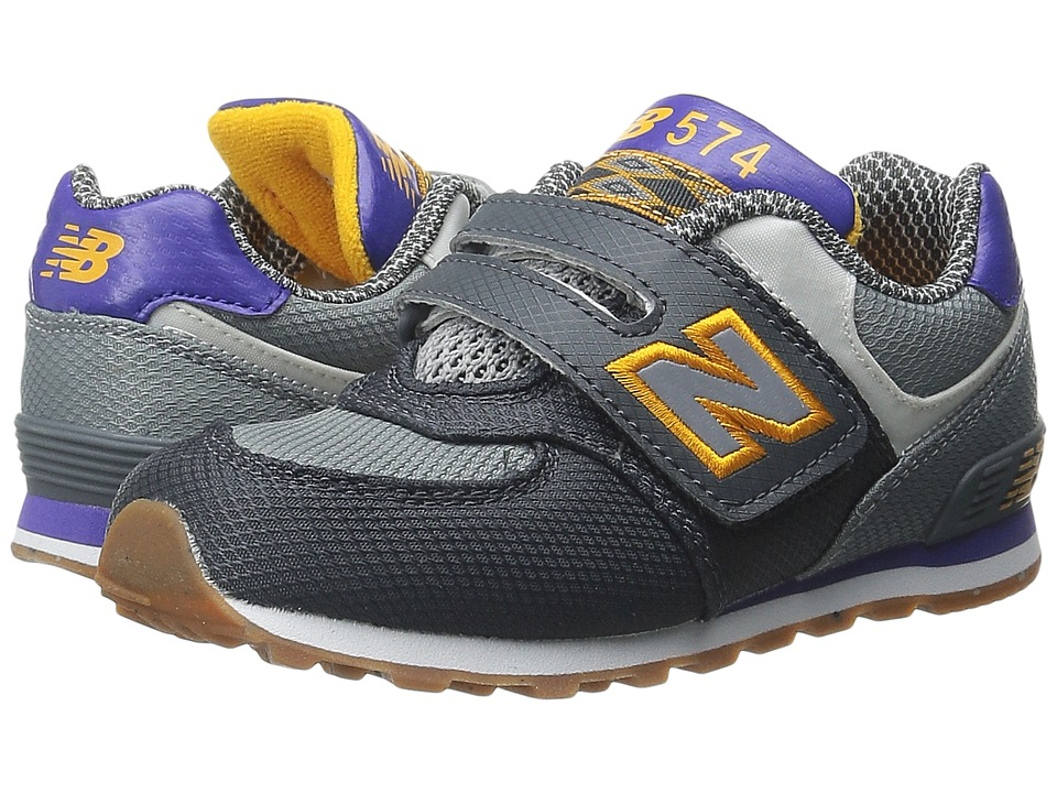 New Balance Kids KG574 (Infant/Toddler) (Grey/Purple) Boys Shoes
