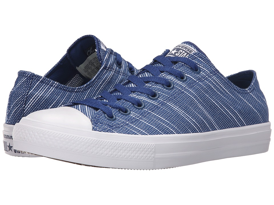 Converse Chuck Taylor All Star II Knit Ox (Roadtrip Blue/White/Navy Textile) Athletic Shoes