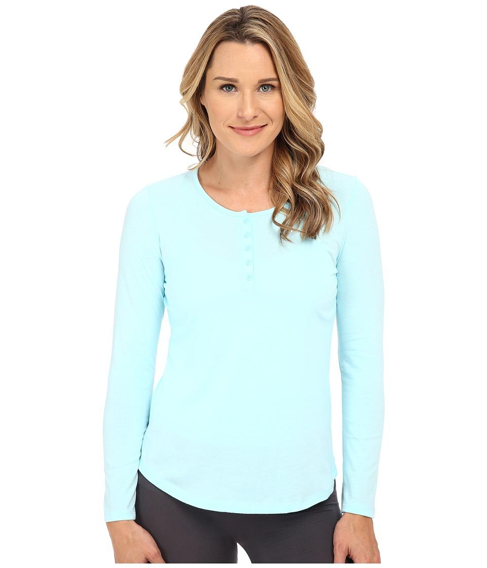 Jockey - Long Sleeve Henley Top (Icy Blue) Women