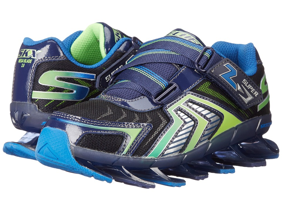 SKECHERS KIDS - Mega Lightz 90530L (Little Kid) (Navy/Lime) Boys Shoes