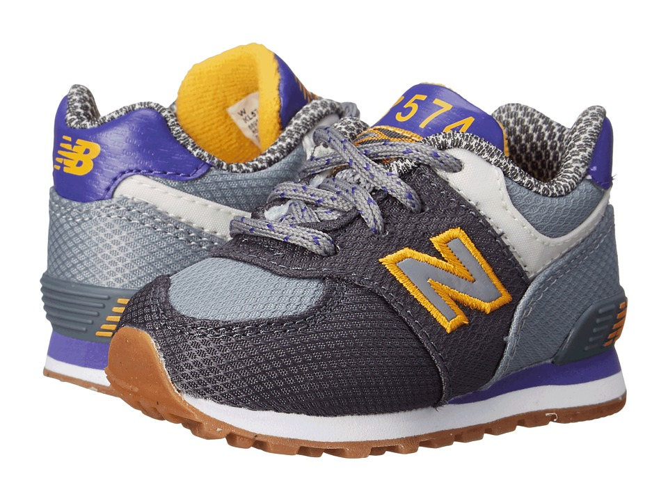 New Balance Kids - KL574 (Infant/Toddler) (Grey/Purple) Boys Shoes